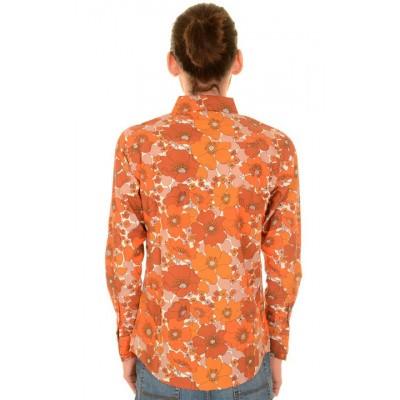 Foto van Overhemd met lange mouw, koper bruine bloemen