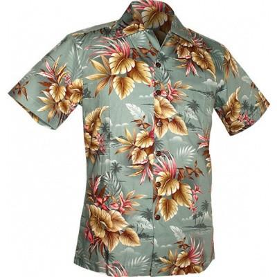 Foto van Chenaski - Overhemd korte mouw, Alohaa Flowers, grijs