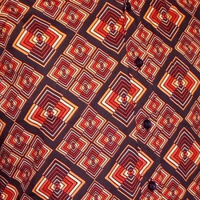 Foto van Overhemd retro, Rhombus donker bruin
