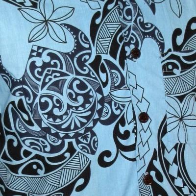 Foto van Chenaski | Overhemd korte mouw Tribal lichtblauw zwart