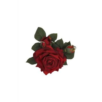 Foto van Haarclip / broche Luscious Rose, rood groene bloem