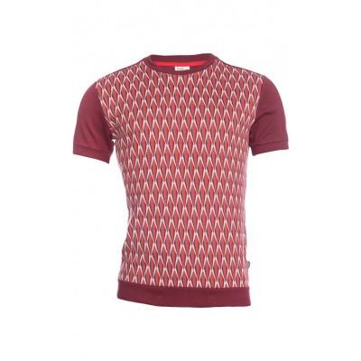 Foto van Ato Berlin, T-shirt Birk met bordeaux en grijs retro jacquard patroon, biokatoen