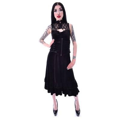 Foto van Jurk Nova, met kanten kraag, corset-detail en frill, zwart fluweel