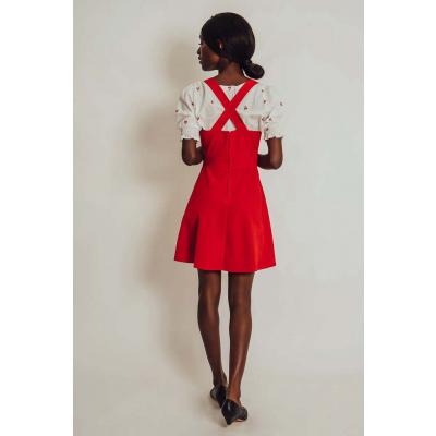 Foto van Voodoo Vixen | Rode ribcord pinafore jurk Donita met hartvorm