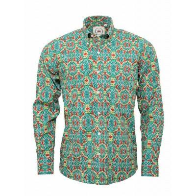 Overhemd met lange mouw, met groen rood retro patroon