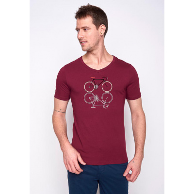 Foto van Green Bomb | T-shirt bike shape, bio katoen bordeaux