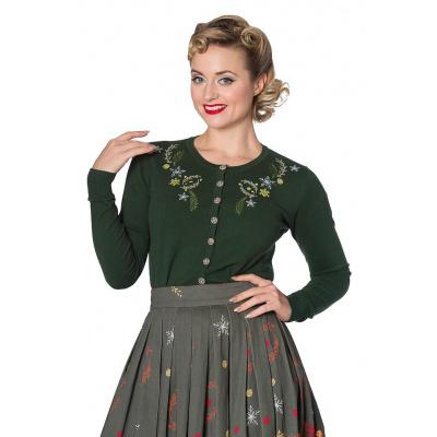 Foto van Banned, cardigan Winter Leaves, met embroidery, groen