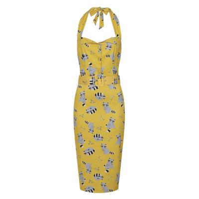 Foto van Collectif | Pencil jurk Wanda Ravenous geel met wasberen