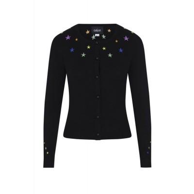 Foto van Cardigan Jessie, Rainbow Star, zwart met paarse knopen