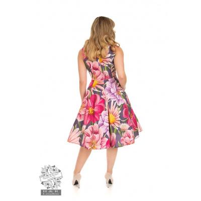 Foto van Hearts & Roses   Denise, swing jurk met grote bloemen
