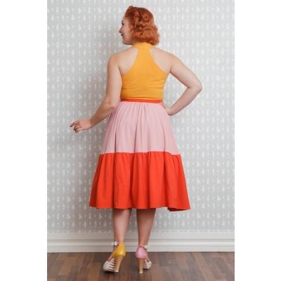 Foto van Jurk Lorena mouwloos swingmodel in geel, zachtroze en oranje