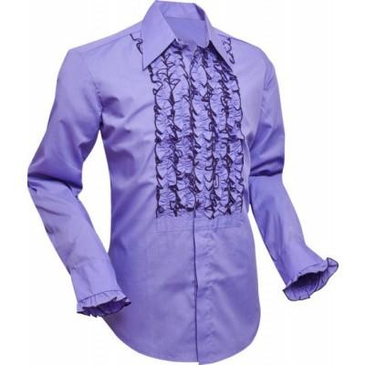 Overhemd ruche, purple met dark lilac trim