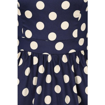 Foto van Jurk Milana, donkerblauw met cremé polkadots