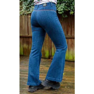 Foto van Run & Fly | Denim Jeans hoge taille met regenboog stiksels