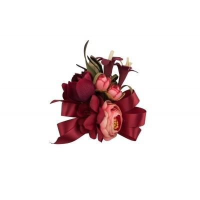 Foto van Haarclip/broche, met rode bloemen en strik