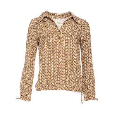 Foto van ATO Berlin, retro blouse Liana, bloemen patroon, bruin beige