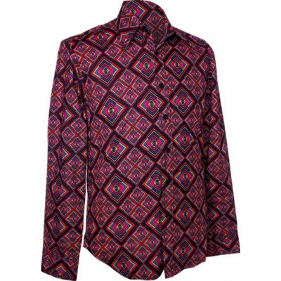 Chenaski | overhemd seventies, Rhombus zwart multicolour