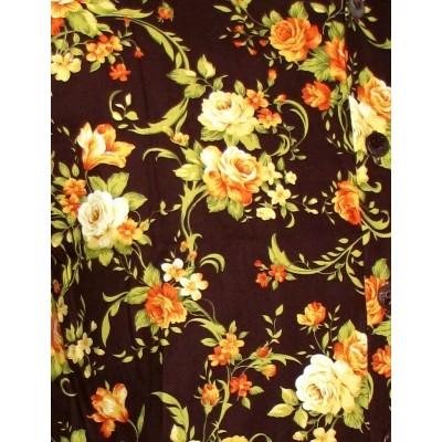 Foto van Overhemd korte mouw met bruine rozen