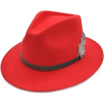 Foto van Cowboy Fedora hoed, rood met leren band en veer