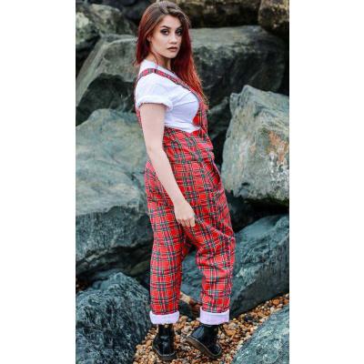 Foto van Run & Fly | Rode tartan tuinbroek, unisex