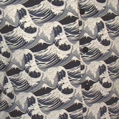 Foto van Overhemd korte mouw Japanese Waves grijs