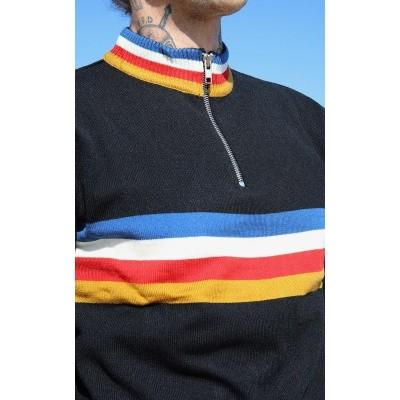 Foto van Fietstrui met gekleurde strepen en polo ritssluiting, zwart
