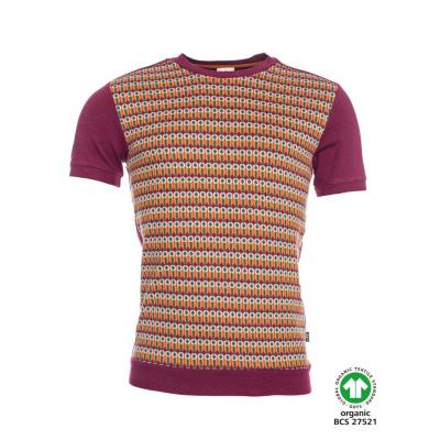 Foto van ATO Berlin, T-shirt Birk, retro patroon, aubergine oranje