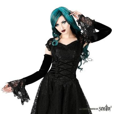 Foto van Sinister - Manchetten Alina, met stretchmateriaal en kant, zwart