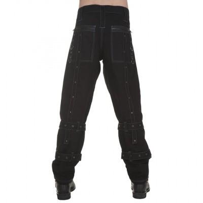 Foto van Broek met zakken op de knie, studs en gespen, zwart