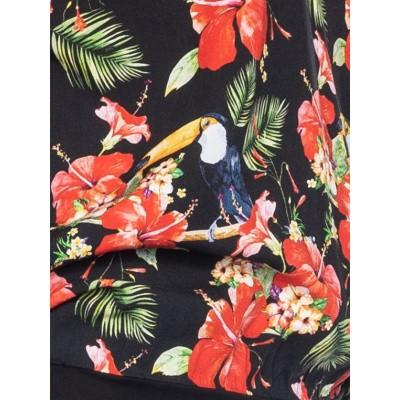 Foto van Ato-Berlin, shirt Leo, zwart met tropische tukan print