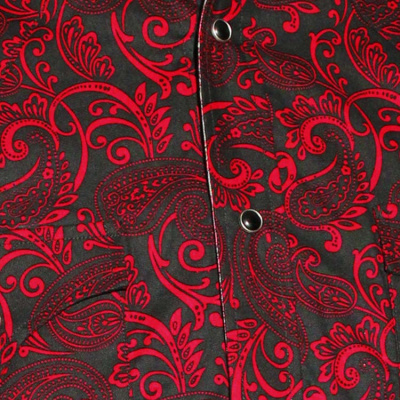 Foto van Chenaski | Cowboy overhemd zwart rode Paisley Ornamentical