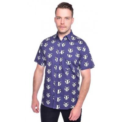 Overhemd korte mouw, dassenprint
