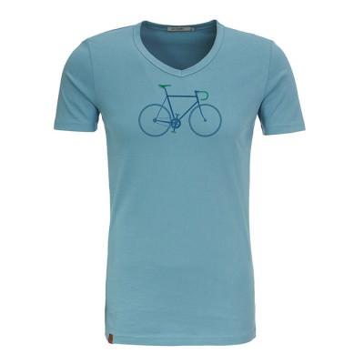 Foto van T-shirt Bike trip peak, bio katoen smoke blauw