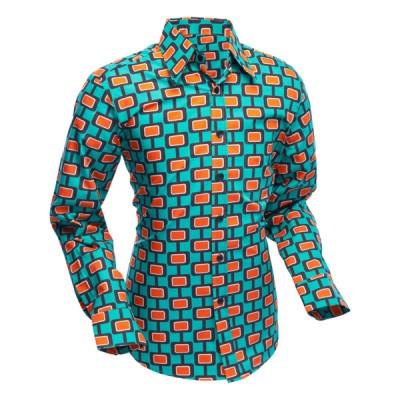 Foto van Chenaski -retro overhemd, Screens turquoise oranje