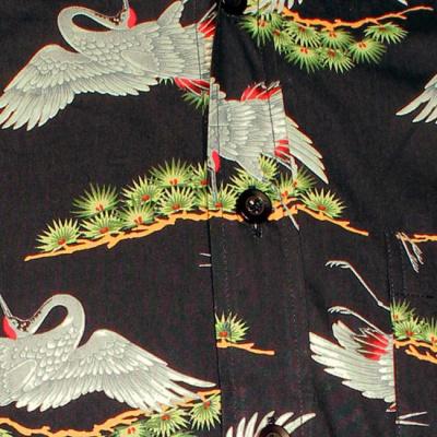 Foto van Chenaski | Overhemd Retro Crane and Branches, zwart
