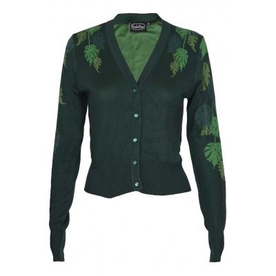 Foto van Voodoo Vixen | Groene cardigan Ivy Green met bladeren print