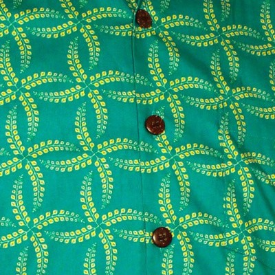 Foto van Chenaski | Overhemd korte mouw, Leaves grid, turquoise yellow