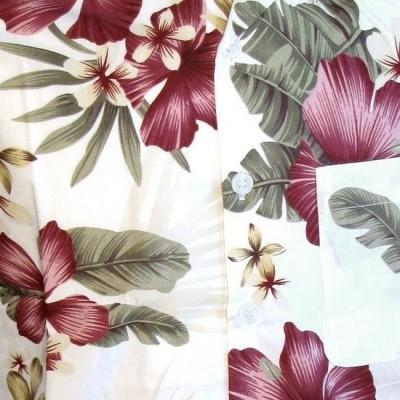 Foto van Overhemd korte mouw jungle flowers creme