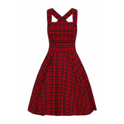 Foto van Hell Bunny   Rode pinafore jurk Irvine met tartan motief