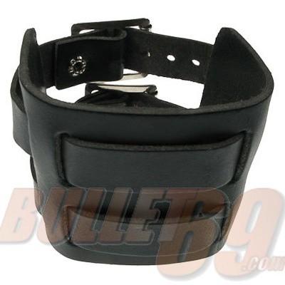 Foto van Leren polsband, 70mm - zwart doorwoven met twee bandjes-18mm