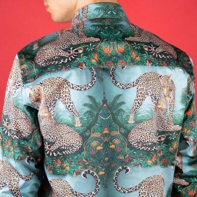 Foto van Overhemd leopard print, groen