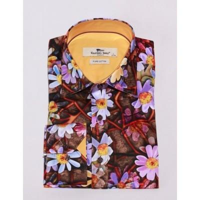 Overhemd Daisy print, bruin