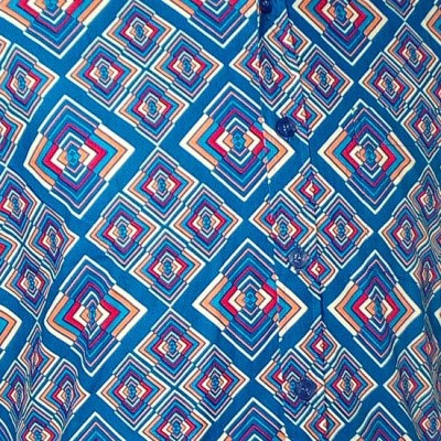 Foto van Overhemd retro, Rhombus turquoise