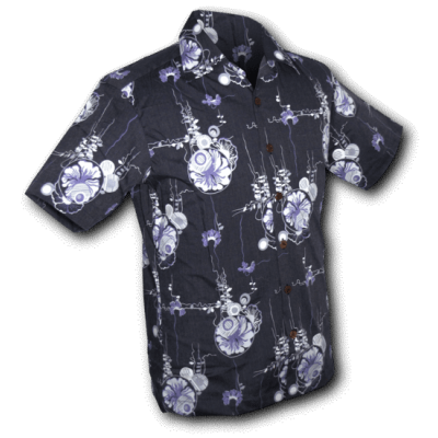 Foto van Overhemd korte mouw Japanese Leaves blauw