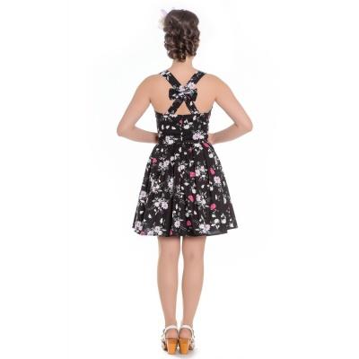 Foto van Mini jurk Belinda zwart, met roze bloemen