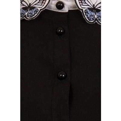 Foto van Blouse Laeticia, zwart met vlinderkraag