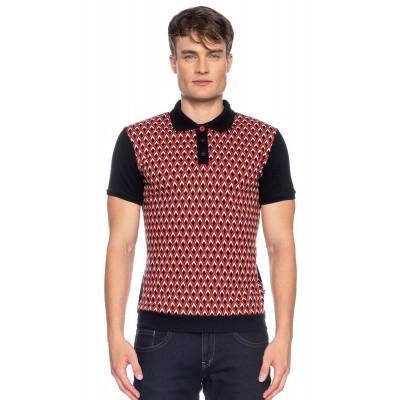 Polo Enzio jacquard patroon, zwart rood bio katoen