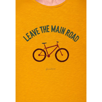 Foto van Green Bomb | T-shirt bike leave road, bio katoen goud geel