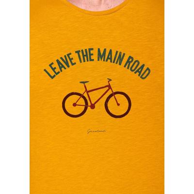 Foto van Green Bomb | T-shirt bike leave road, bio katoen goud geel