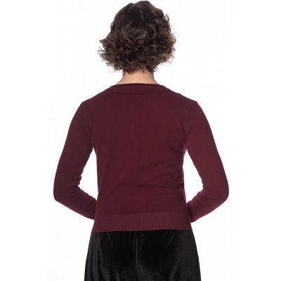 Foto van Cardigan Black cat bloom, burgundy